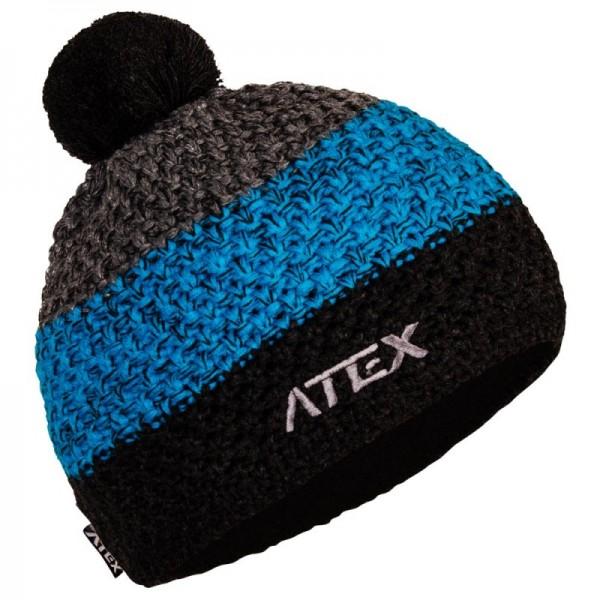 Pletená čiapka KNIT šedo-modrá pruhy